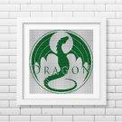Emerald green dragon silhouette cross stitch pattern in pdf