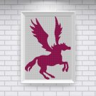 Flying Unicorn silhouette cross stitch pattern in pdf