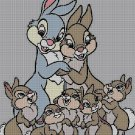 Cute bunny family cross stitch pattern in pdf DMC