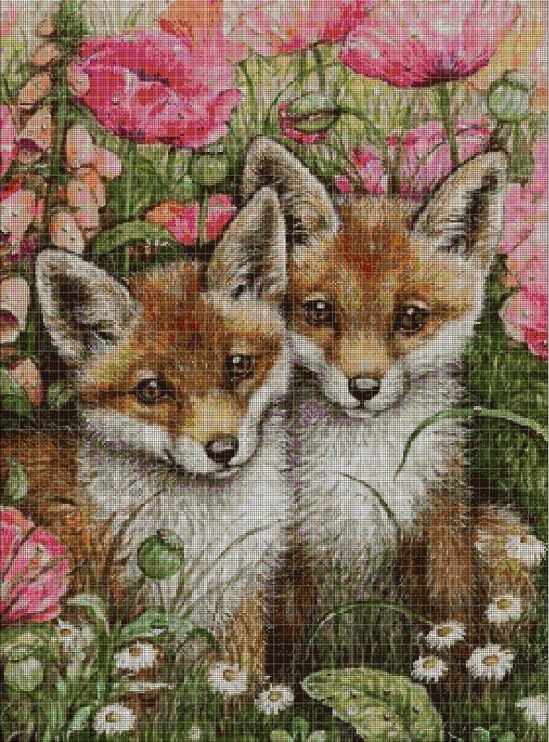 Little foxes cross stitch pattern in pdf DMC