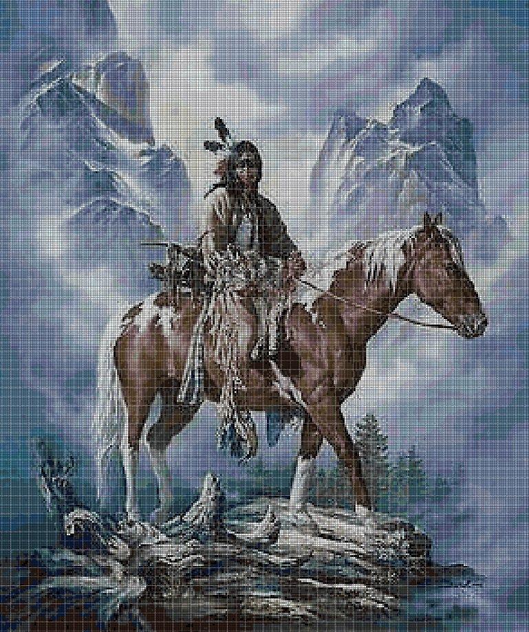 Native Americans portrait with horse cross stitch pattern in pdf DMC