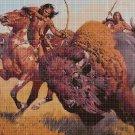 Native Americans Bison hunting cross stitch pattern in pdf DMC