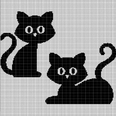 2 BLACK CAT CROCHET AFGHAN PATTERN GRAPH