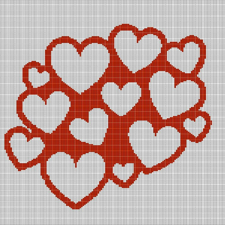 Hearts 2 Crochet Afghan Pattern Graph
