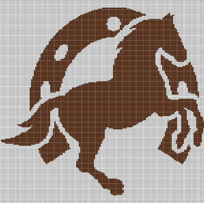 HORSESHOE AND HORSE 2 CROCHET AFGHAN PATTERN GRAPH