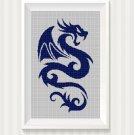Dark blue dragon silhouette cross stitch pattern in pdf