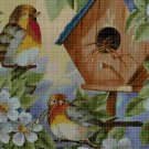 Bird feeder cross stitch pattern in pdf DMC