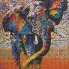 Colours Elephant art cross stitch pattern in pdf DMC