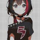 Anime rocker girl cross stitch pattern in pdf DMC