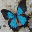 Blue Butterfly and roses cross stitch pattern in pdf DMC