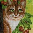 Cat and cherry cross stitch pattern in pdf DMC