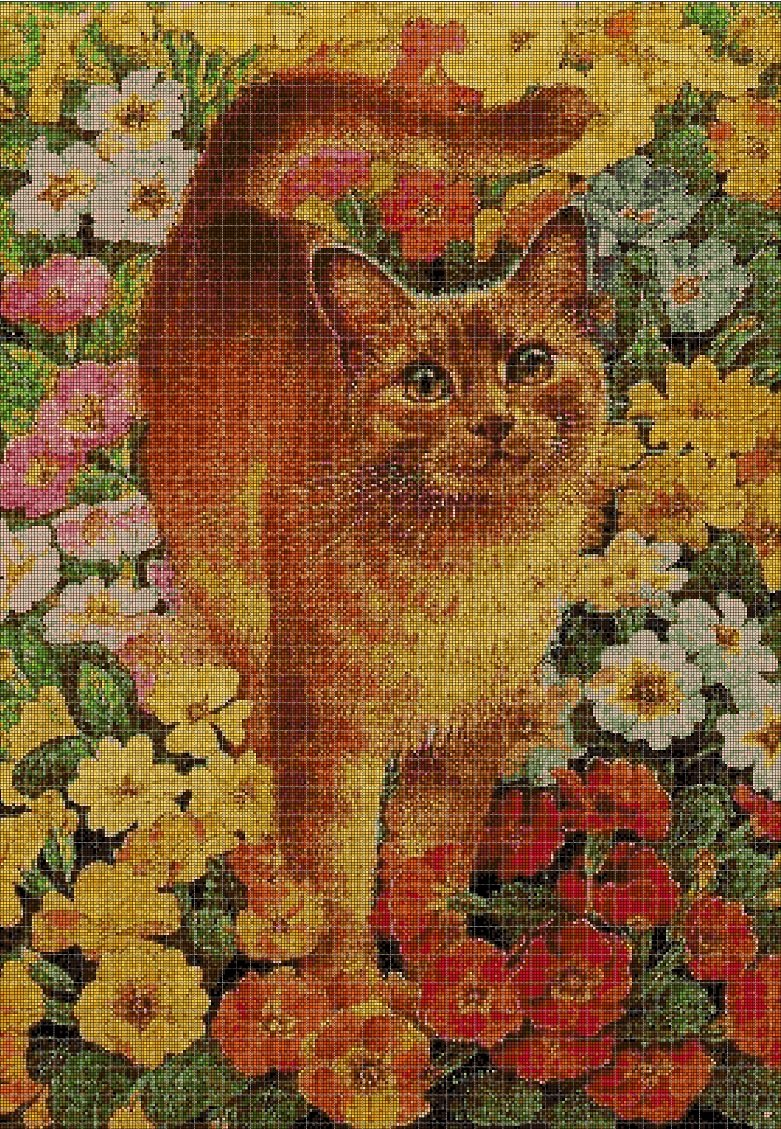 Cat on flowers cross stitch pattern in pdf DMC