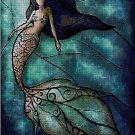 Mermaid stained glass fantasy art cross stitch pattern in pdf ANCHOR