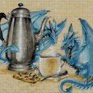 Blue dragons teatime fantasy art cross stitch pattern in pdf ANCHOR