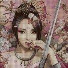 Chinese warrior girl fantasy art cross stitch pattern in pdf ANCHOR