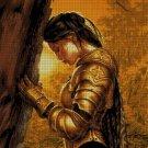 Sad warrior fantasy art cross stitch pattern in pdf