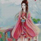 Beauty in pink fantasy art cross stitch pattern in pdf ANCHOR