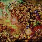 Autumn Girl fantasy art cross stitch pattern in pdf ANCHOR
