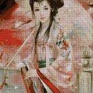Japanese beauty with umbrella fantasy art cross stitch pattern in pdf