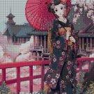 Japanese Beauty fantasy art cross stitch pattern in pdf