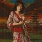 Japanese warrior woman fantasy art cross stitch pattern in pdf