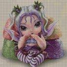 Purple baby fairy- cross stitch pattern in pdf DMC