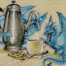 Blue dragons teatime fantasy art cross stitch pattern in pdf DMC