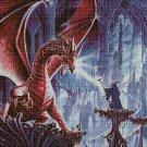 Dragon and wizzard fantasy art cross stitch pattern in pdf DMC