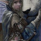 Elf and the white lion- fantasy art cross stitch pattern DMC