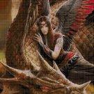 Dragon and black fairy cross stitch pattern in pdf DMC