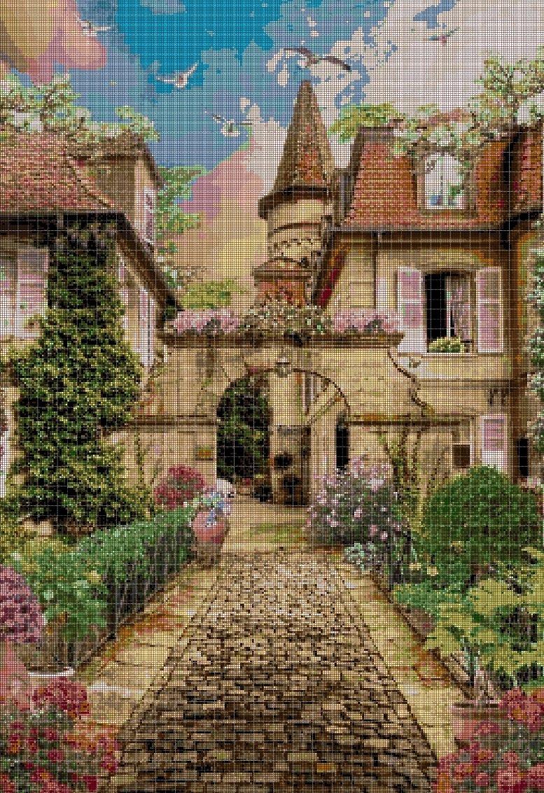 Gate arch cross stitch pattern in pdf DMC