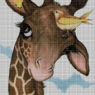 Giraffe with birds cross stitch pattern in pdf DMC