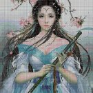 Japanese girl with a flute cross stitch pattern in pdf DMC