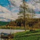 Landscape with lake cross stitch pattern in pdf DMC