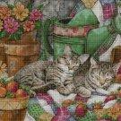 Sleeping cats cross stitch pattern in pdf DMC
