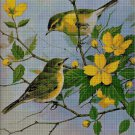 Yellow flowers and birds cross stitch pattern in pdf DMC