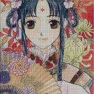 Anime girl with fan cross stitch pattern in pdf DMC