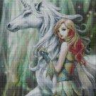 Fairy and unicorn cross stitch pattern in pdf DMC