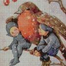 Little fairies and bird cross stitch pattern in pdf DMC