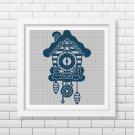 Wall clock silhouette cross stitch pattern in pdf