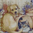 Dog and Cat in Garden cross stitch pattern in pdf DMC