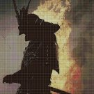 Fire samurai cross stitch pattern in pdf DMC