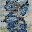 Blue Butterfly fairy cross stitch pattern in pdf DMC