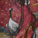Chinese girl and crane cross stitch pattern in pdf DMC