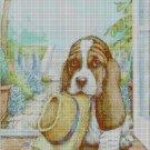 Dog with hat cross stitch pattern in pdf DMC