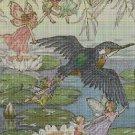 Fairies and humingbird cross stitch pattern in pdf DMC
