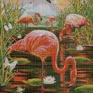 Flamingos in night cross stitch pattern in pdf DMC