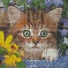 Kitty among the flowers cross stitch pattern in pdf DMC