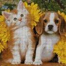 Kitty and puppy cross stitch pattern in pdf DMC