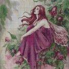 Purple flower fairy cross stitch pattern in pdf DMC